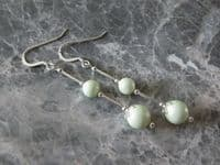 Pastel Green Swarovski Pearl Earrings With Sterling Silver Tubes | Silver Sensations